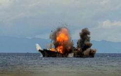 Indonesia cho nổ tung 81 tàu cá nước ngoài đánh bắt trái phép