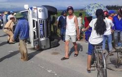 Xe vi phạm tông xe CSGT lật nhào khi bị truy đuổi trên quốc lộ