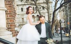 Ngọc Trinh lộ hình mặc váy cưới rạng rỡ ở nước ngoài