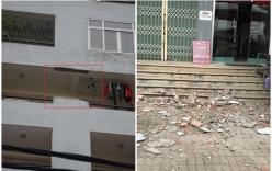 Hãi hùng cảnh sập tường tầng 7 chung cư Học viện Hậu cần