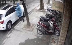 Trộm mặc áo mưa đập kính xe ô tô, trộm túi xách giữa ban ngày ở Hà Nội