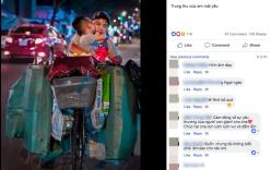 Cái hôn ấm áp của cậu bé dành cho mẹ trên chiếc xe đạp cũ chất đầy ve chai trong đêm Trung thu khiến nhiều người rưng rưng