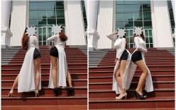 Hai nữ sinh sư phạm mặc áo dài với quần đùi tạo dáng phản cảm nhận cái kết đắng