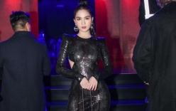 Ngọc Trinh chơi trội với váy xuyên thấu, xẻ lườn dự Milan Fashion Week