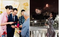 Lan Khuê khoe Tết đầu tiên làm dâu nhà giàu, ngồi lâu đài ngắm pháo hoa
