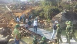 Sập cầu treo ở Lai Châu: Hoàn thành cầu tạm thay cầu Chu Va