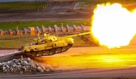 Xem xe tăng T-90 Nga vừa bay vừa nhả đạn trên không ngoạn mục