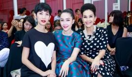 Diễm My, Linh Nga và Xuân Lan đụng hàng họa tiết trái tim tại họp báo