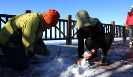 Nhiệt độ giảm sâu dưới 0 độ C, đỉnh Fansipan phủ trắng sương muối