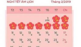 Lịch nghỉ chính thức Tết Dương lịch, Tết Nguyên đán Kỷ Hợi và các ngày lễ trong năm 2019