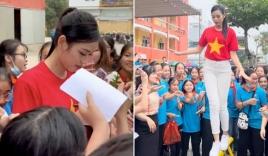 Hoa hậu Đỗ Thị Hà ăn mặc giản dị vẫn nổi bần bật, được đông đảo fan nhí xin chữ ký như Idol Hàn Quốc