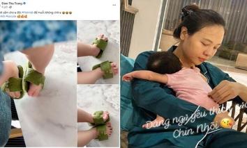 Mẹ bỉm Đàm Thu Trang không tốn 1 xu để làm dép 'Hơi Mệt' cho con, vừa cute lại có thể đuổi muỗi
