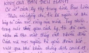 Công dân cách ly từ nước ngoài về viết tâm thư cảm ơn sâu sắc các y bác sĩ Việt Nam