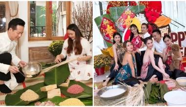 Sao Việt rộn ràng chuẩn bị Tết: Ngọc Trinh diện áo tứ thân gói bánh, Bảo Thy, Nhật Kim Anh trưng tết với cây cảnh
