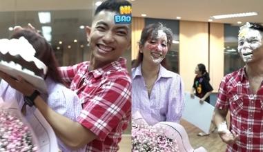 Phan Hiển gây tranh cãi khi úp cả chiếc bánh lên mặt Khánh Thi trong ngày sinh nhật