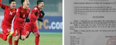 Quyết định cho nhân viên nghỉ để cổ vũ U23 Việt Nam: \