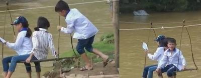 Học sinh tiểu học Sập Xa – Sơn La đu cáp treo tự chế qua suối