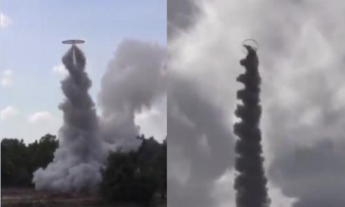 Cận cảnh đốt pháo bằng đĩa bay, ấn tượng chưa từng thấy