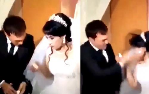 Bị trêu chọc, chú rể cục súc thẳng tay tát cô dâu ngay giữa đám cưới