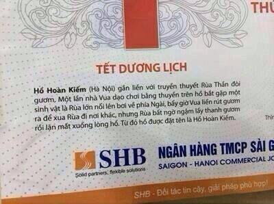 Xôn xao tờ lịch Vua 'rút kiếm đuổi rùa' của Ngân hàng SHB