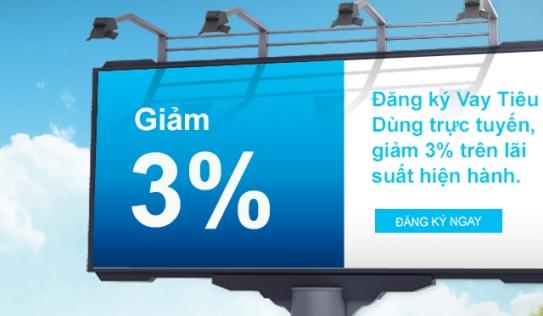 Vay tiêu dùng trực tuyến: Giảm 3\% lãi suất hiện hành