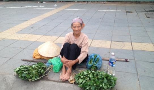 Cụ bà 80 bán rau giữa ngã tư HN lấy tiền mua thuốc
