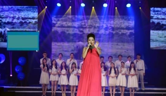 Thu Minh bầu 5 tháng vẫn hát, nhảy trên sân khấu