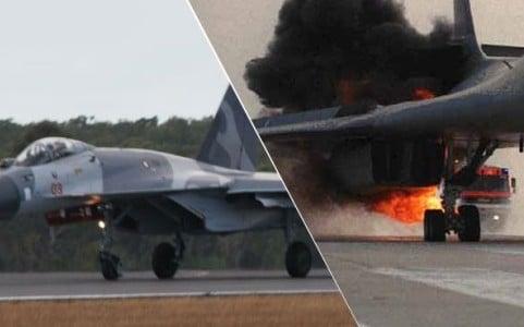 Chiến đấu cơ Indonesia bốc cháy ngay trước khi cất cánh