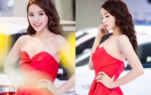 Hoa hậu Kỳ Duyên đẹp lạ với đầm cúp ngực dự sự kiện