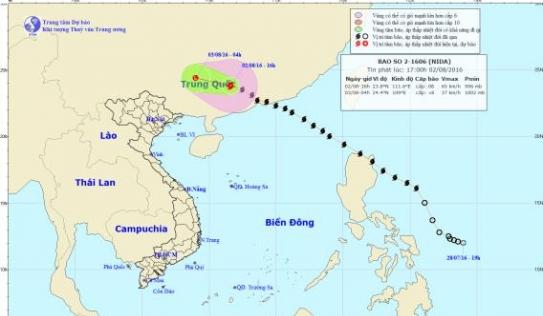 Bão Nida chuẩn bị suy yếu thành áp thấp nhiệt đới