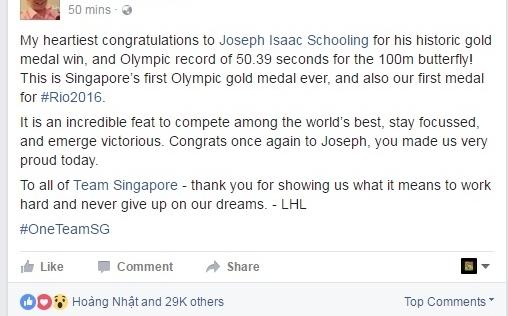 Thủ tướng Singapore 'phát sốt' với kỷ lục Olympic của kình ngư Joseph