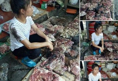 Cả sạp thịt lợn bán giá rẻ của người phụ nữ trẻ bị hất đầy dầu luyn