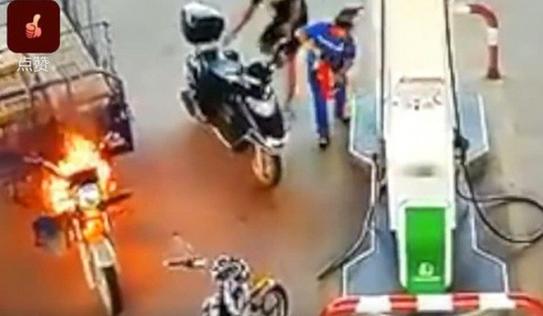 Nữ nhân viên trạm xăng được khen ngợi hết lời vì thái độ bình tĩnh khi xe ba gác bất ngờ bốc cháy