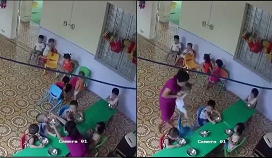 Đuổi việc giáo viên mầm non nhồi nhét thức ăn và bạo hành cháu bé hơn 2 tuổi ở Hà Nội