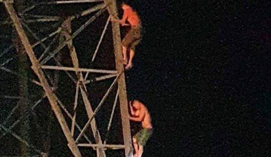 Nghệ An: Hai anh em mắc kẹt trên cột điện cao thế nhiều giờ trong đêm