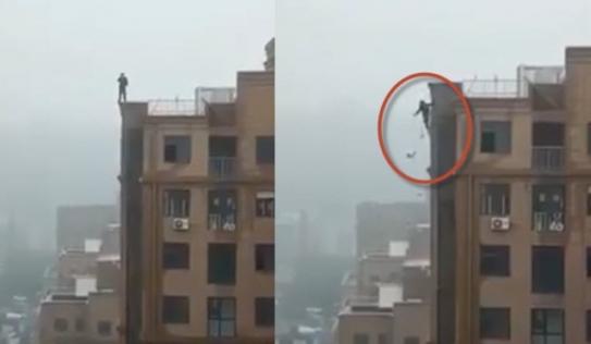 Kinh hoàng khoảnh khắc nam thanh niên hụt chân ngã từ chung cư cao tầng chết thảm