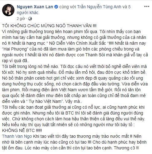 Xuân Lan 'trào nước mắt' khi thấy Ngô Thanh Vân bị đối xử bất công 2