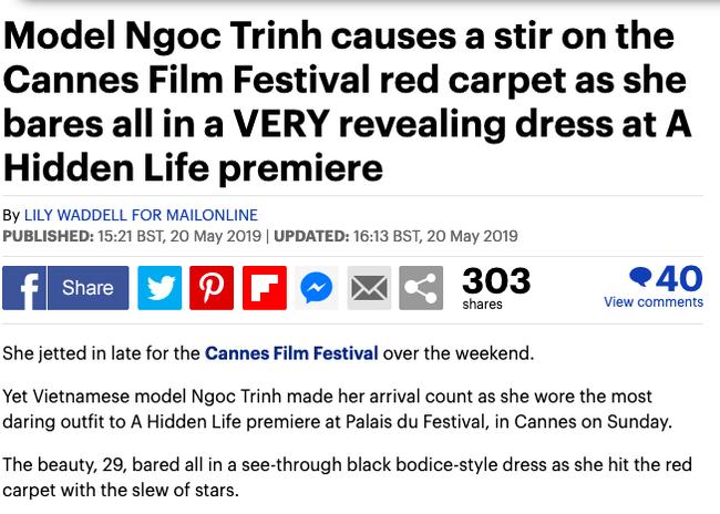 Ngọc Trinh lại một lần nữa lên báo Anh sau vụ 'mặc như không' tại Cannes 3