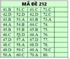 Đáp án gợi ý môn Hóa học mã đề 212 tốt nghiệp THPT quốc gia năm 2019 1