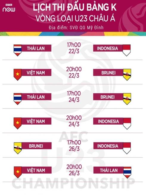 VOV, VTC độc quyền phát sóng trực tiếp vòng loại U23 Châu Á 1