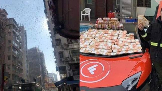 Bất ngờ xuất hiện 'cơn mưa' tiền rơi xuống, người dân tranh nhau ra nhặt 3