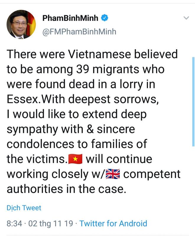 Phó Thủ tướng chia buồn với gia đình các nạn nhân trong vụ 39 thi thể trên container 1