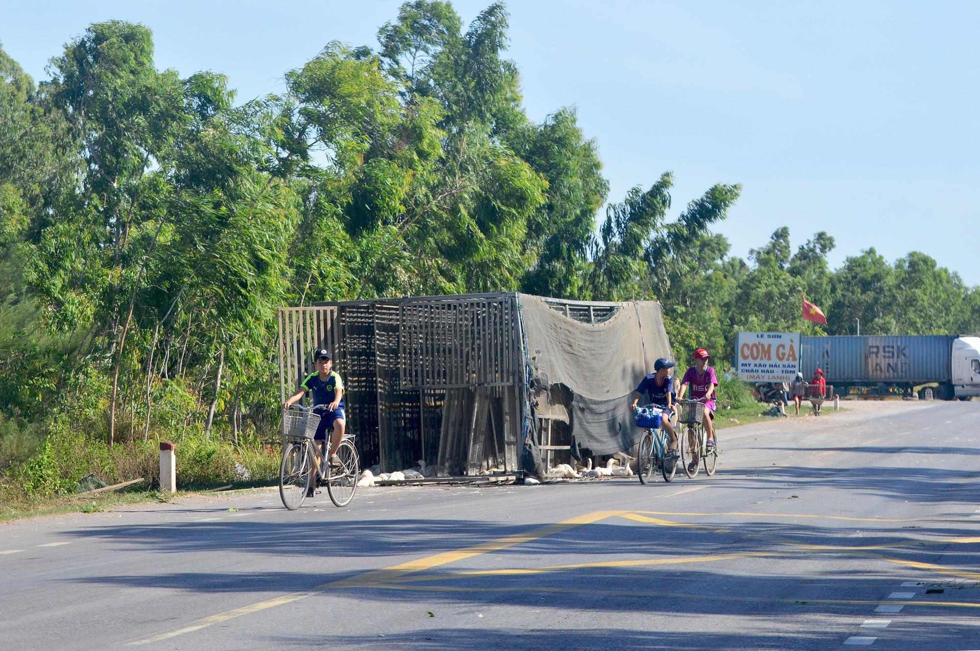 Người dân thi nhau 'hôi vịt' từ xe tải, công an phải đi vận động trả lại 1