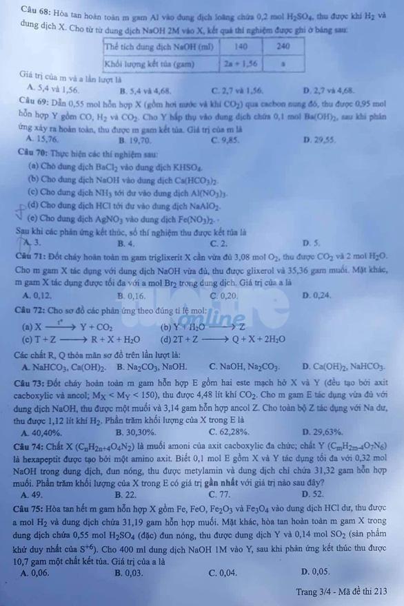 Đáp án gợi ý môn Hóa học tốt nghiệp THPT Quốc gia năm 2019 mã đề 213 4