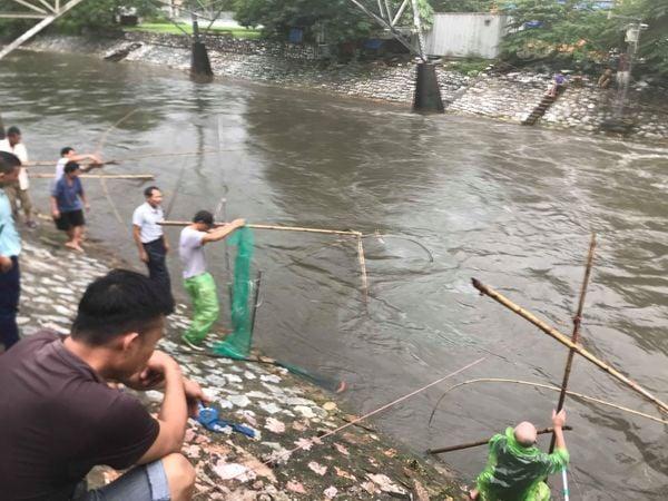 Cảnh tượng hiếm gặp trên con 'sông chết' ở Hà Nội sau bão số 3 1