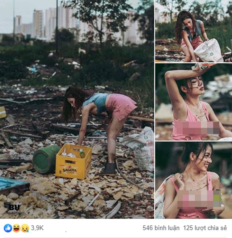 Gái xinh giả nghèo đi nhặt rác bị dân mạng mỉa mai, xúc phạm 1