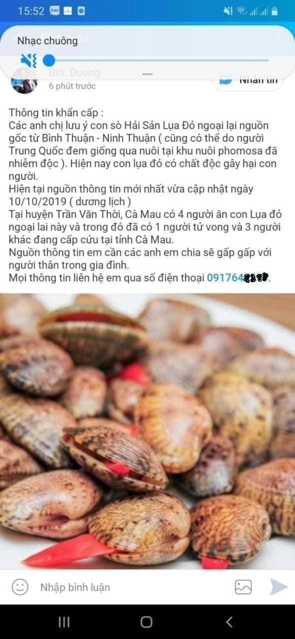 Thực hư thông tin ăn sò lụa đỏ tử vong tại Cà Mau 1