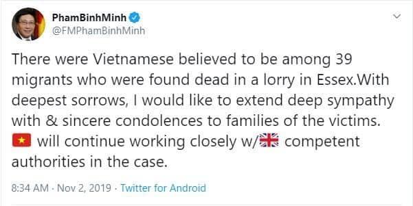 Đại sứ Anh chia sẻ thông tin mới nhất về vụ 39 thi thể trong container 1