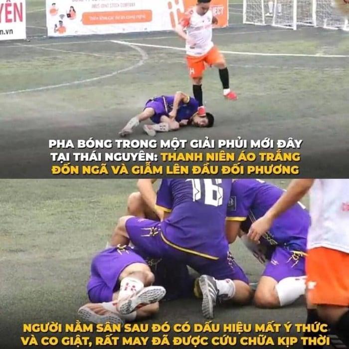 Cầu thủ đạp lên mặt đối phương ở Thái Nguyên bị dân mạng truy tìm 1