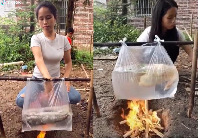 Dùng túi nilon nấu cá, luộc vịt, cô gái khiến dân mạng bàn tán xôn xao 1